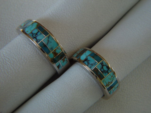 Matching Wedding  Rings - 7 mm Wide 14 Karat White Gold Ring and Turquoise - product images  of