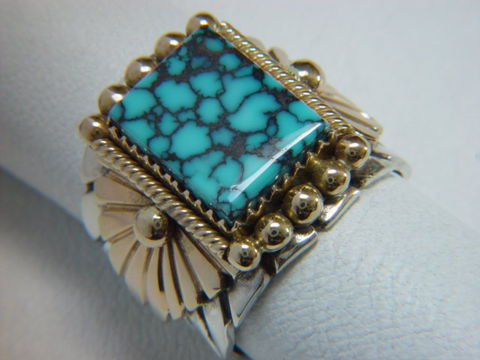 Natural,Tibetan,Turquoise,set,in,Sterling,Silver,and,Gold,18 K, 18 Karat, Spider web, Spiderweb, Natural Turquoise, Tibetan Turquoise, 14K, 14 Karat Gold, Sterling Silver, Hand Made, Navajo, Arizona