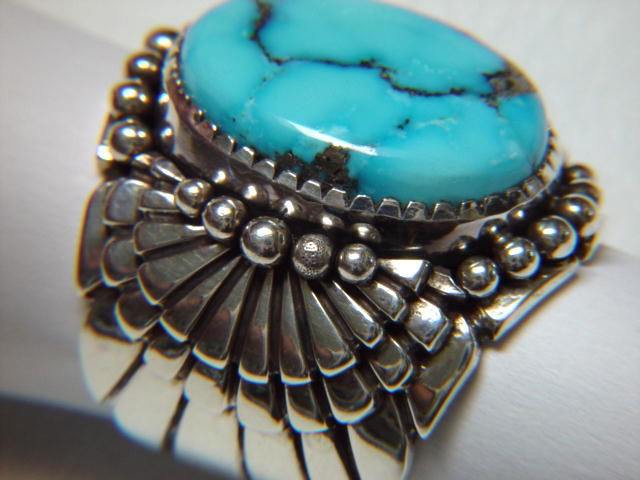 Morenci Turquoise set in Sterling Silver Ring - product images  of