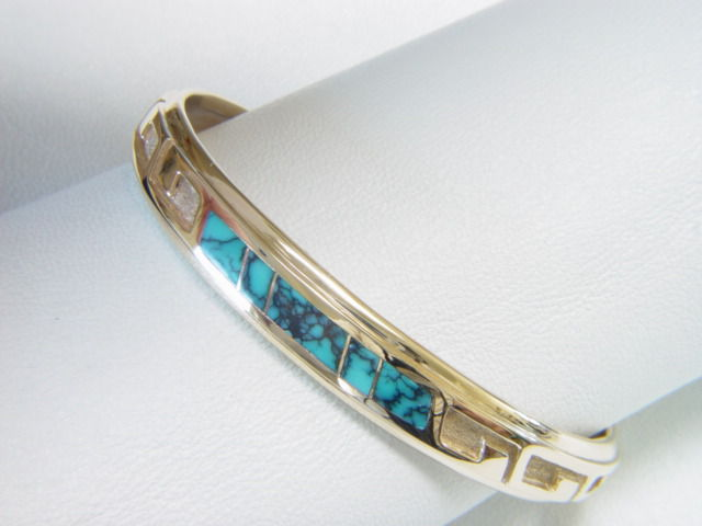 14 Karat Gold and Turquoise Inlay Bracelet - product images  of