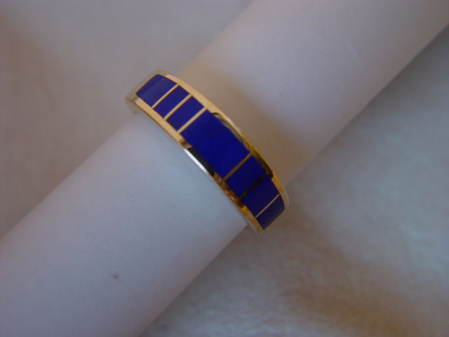 Lapis Lazuli in 5mm wide 14 Karat Gold Ring - product images  of