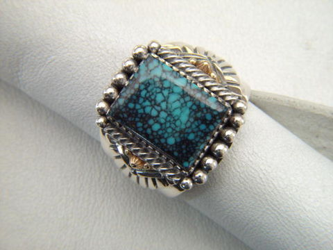 High,Grade,Spider,Web,Turquoise,set,in,Sterling,Silver,with,Gold,Accents,Spider web Turquoise, spiderweb, high grade turquoise, 14K, 14 Karat Gold, Sterling Silver, Hand Made, Navajo, Arizona, carusetta