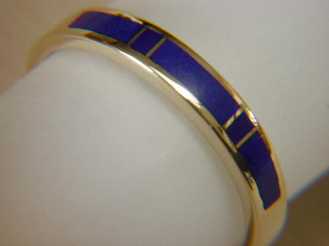 Lapis,in,3.5,mm,Wide,14,Karat,Gold,Ring,18 Karat, 14 Karat, Platinum, Gold Ring, Wedding Ring, Inlay, Gold and Lapis, Custom Wedding Rings, Lapis Inlay, Lapis Lazuli, Arizona, Navajo Jewelry