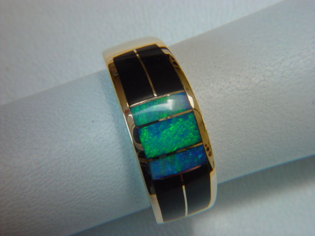Black Jade and Opal Inlaid 10 mm wide 18 Karat Gold Ring - product images  of