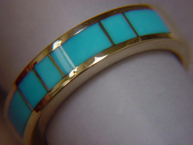Sleeping Beauty Turquoise in 5mm wide 18 Karat Gold Ring - product images  of