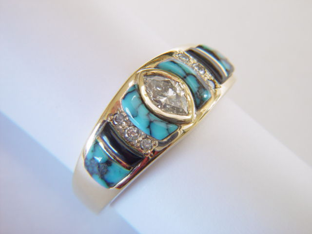 Turquoise, Black Jade,  and Diamonds set in 18 Karat Gold Ring - product images  of