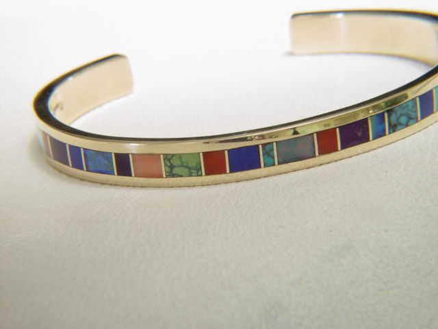 Multi Stone Inlay Bracelet set in Gold - product images  of