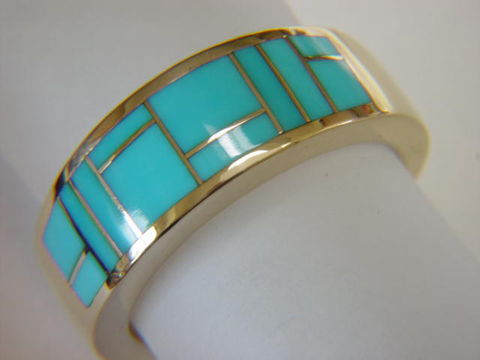Sleeping,Beauty,Turquoise,in,10,mm,wide,18,Karat,Gold,Ring,18 Karat, 14 Karat, Platinum, Gold Ring, Wedding Ring, Inlay, Gold and Turquoise, Custom Wedding Rings, Turquoise Inlay