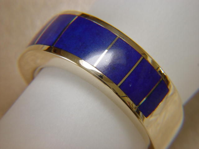Lapis Lazuli Inlay in 8 mm Wide 14 Karat Yellow Gold Ring - product images  of