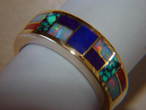 Multi,Stone,Inlay,in,7mm,Wide,18,Karat,Gold,Ring,Gold Ring, Wedding Ring, Inlay, Gold and Lapis, Turquoise and Gold, Opal, Opal Inlay, Arizona, Custom Wedding Rings, Lapis Inlay, Lapis Lazuli, Coral, Red Coral
