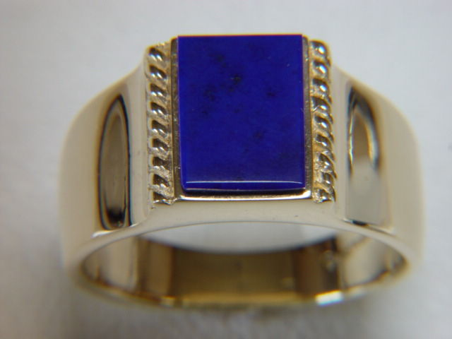Lapis Lazuli set in Heavy 14 Karat Yellow Gold Ring - product images  of