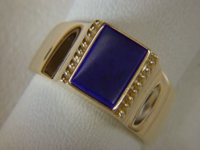 Lapis Lazuli set in Heavy 18 Karat Yellow Gold Ring - product images  of