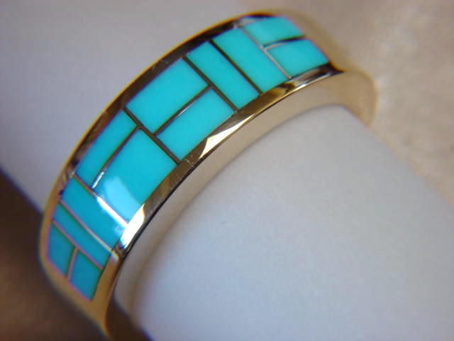 Sleeping Beauty Turquoise Inlay in 7mm wide 18 Karat Gold Ring - product images  of