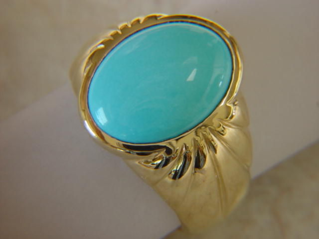 Sleeping Beauty Turquoise in Heavy 14 Karat Gold Ring - product images  of
