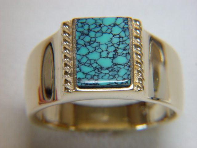 Natural Spiderweb Turquoise set in Heavy 14 Karat Gold Ring - product images  of