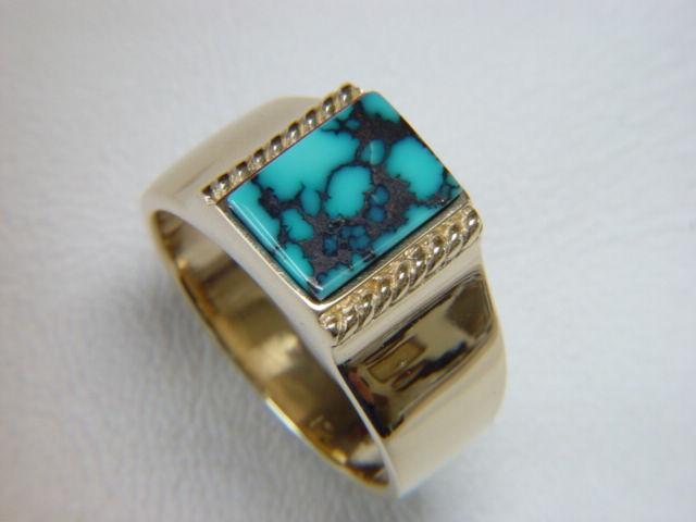 Natural Spiderweb Turquoise set in Heavy 18 Karat Gold Ring - product images  of