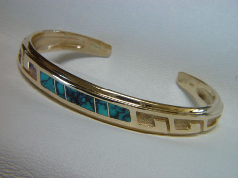 18,Karat,Gold,and,Turquoise,Inlay,Bracelet, Gold Bracelet, Platinum Bracelet, Gold Ring, Inlay, Gold and Lapis, Turquoise and Gold, Opal, Opal Inlay, Arizona, Custom Wedding Rings, Lapis Inlay, Lapis Lazuli, Coral, Red Coral, Navajo, carusetta