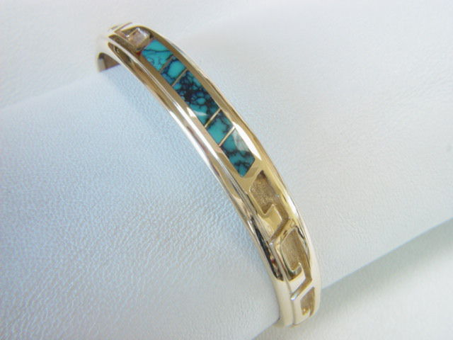 18 Karat Gold and Turquoise Inlay Bracelet - product images  of