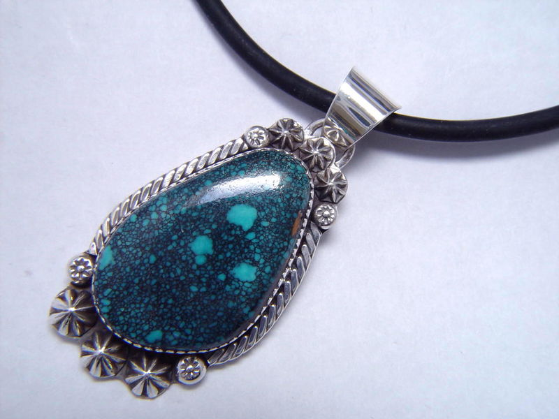 High Grade Paiute Spider Web Turquoise set in Sterling Silver - product images  of