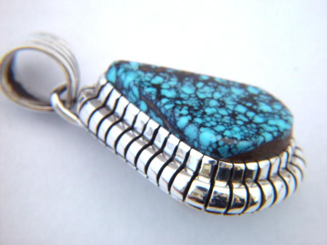 High Grade Tibetan Spider Web Turquoise Pendant - product images  of