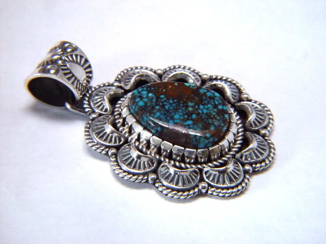 High Grade Super-X Spider Web Turquoise set in Sterling Silver - product images  of