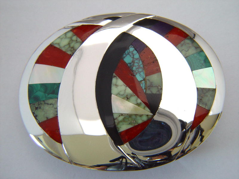 Sterling Silver Belt Buckle with High Grade Turquoise Inlay - product images  of