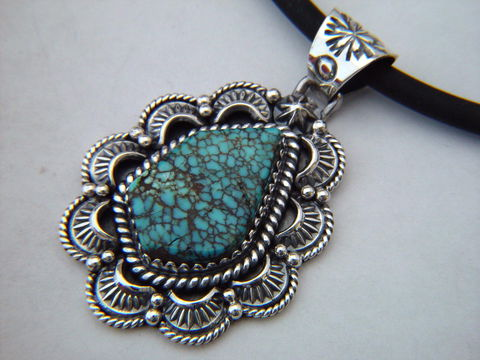 High,Grade,Number,Eight,Turquoise,set,in,Sterling,Silver,Spider web turquoise, High Grade Turquoise, Carusetta jewelry, Thomas Carusetta, Turquoise pendant, Turquoise and Silver, Spiderweb, Sterling Silver pendant, Hand Made, Navajo, Arizona