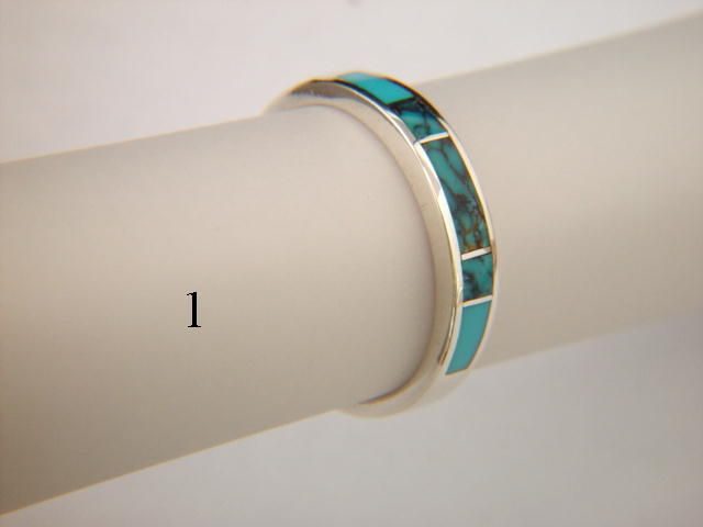 Turquoise and Silver Inlay Ring ~ 3.5 mm - product images  of