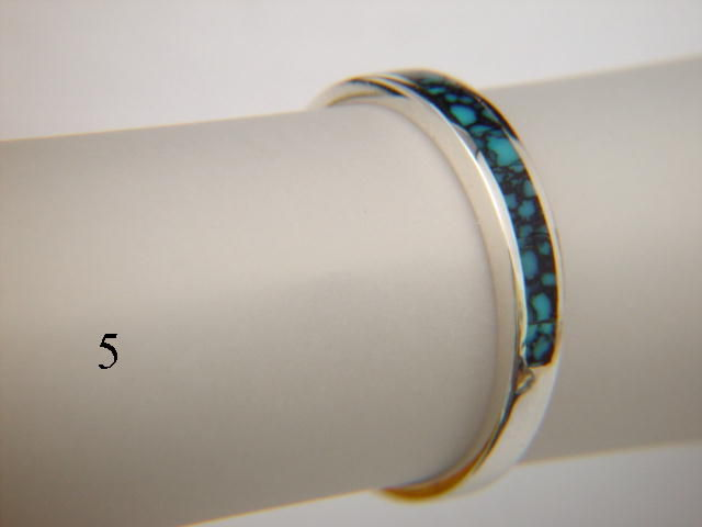 Turquoise and Silver Inlay Ring  - 3.5 mm wide - product images  of