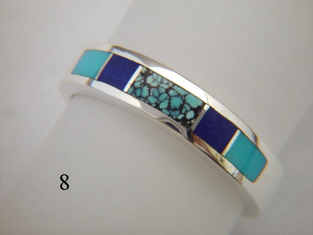 Turquoise and Silver Inlay Ring  - 5.5 mm wide - product images  of