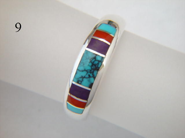 Turquoise, Coral, and Sugilite, Inlaid in Silver Ring  - 7 mm wide - product images  of