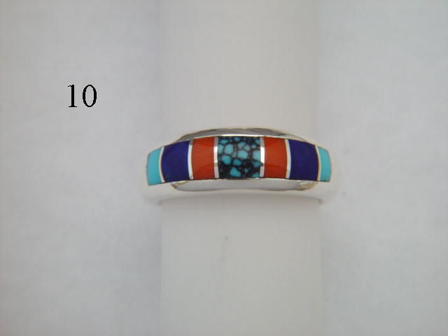 Turquoise, Coral, and Lapis, Inlaid in Silver Ring  - 7 mm wide - product images  of