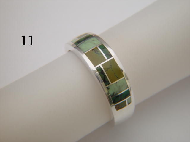 Damele Turquoise in Green Mosaic  Inlaid in Silver Ring  - 7 mm wide - product images  of