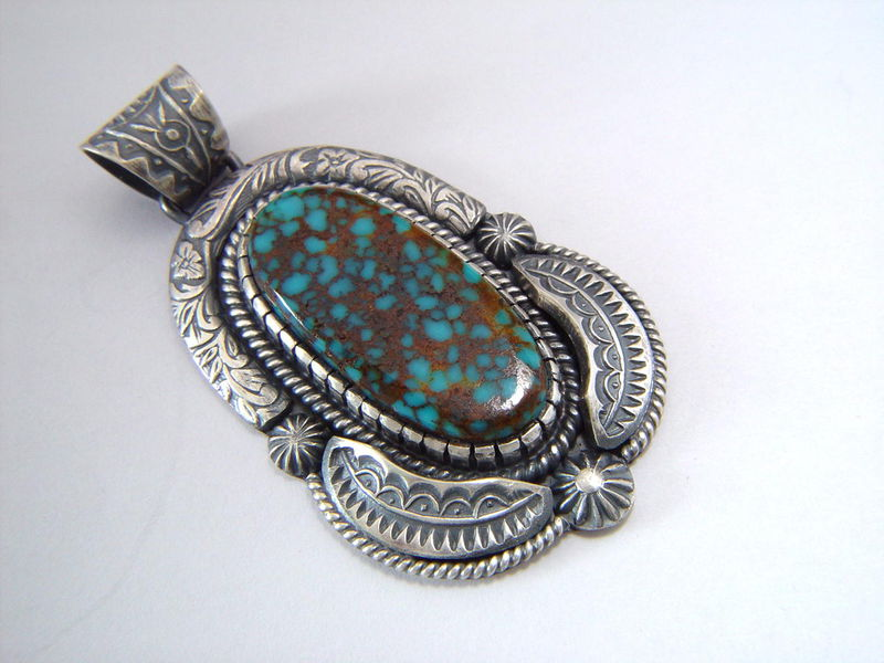 High Grade Spider Web Turquoise set in Sterling Silver - product images  of