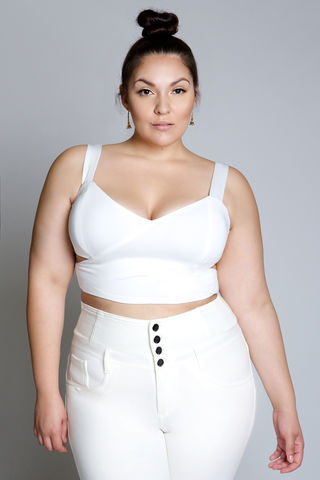 BRODY,WHITE,top, shirt, blouse, crop top, plus size
