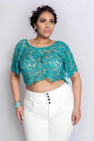 JAZZ,TEAL,top, shirt, blouse, crop top, plus size