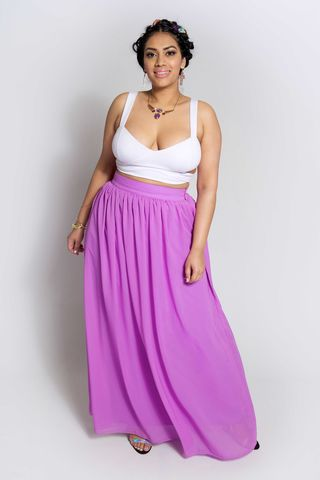 SOTHY,PURPLE,skirt, maxi, sheer, bottoms, plus size