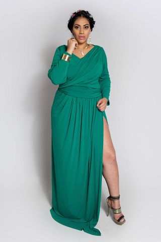 JAIMARIE,GREEN,dress, wrap dress, plus size