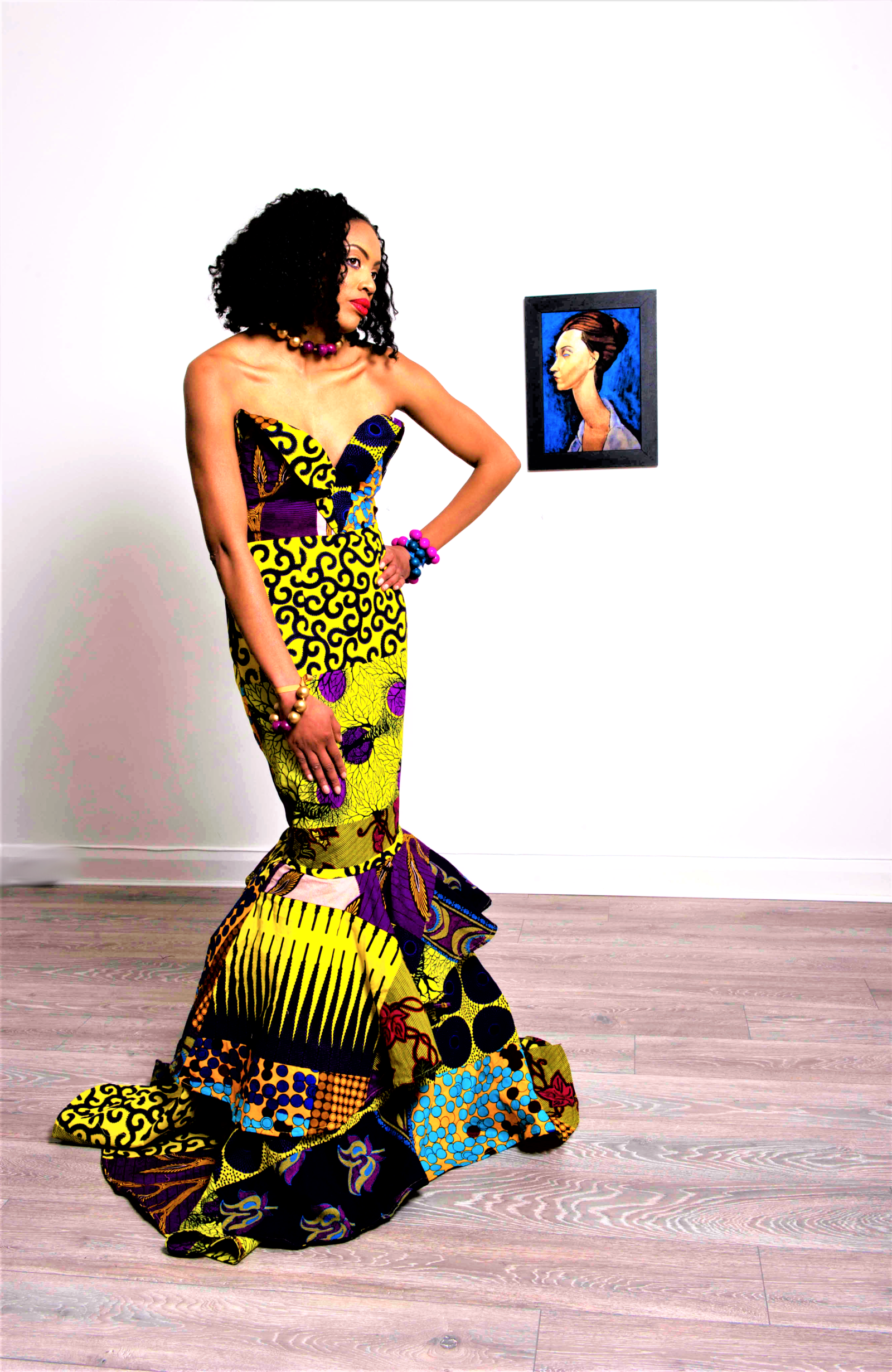 African ankara fashion yellow purple long gown wedding prom dress sosome