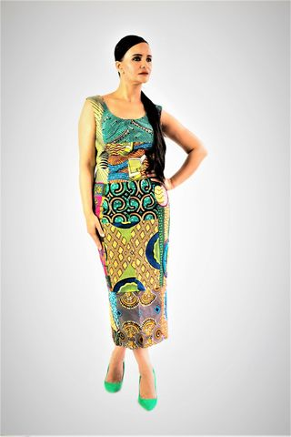 Fitted,Midi,Dress,Pencil dress, Fitted dress, Pink Ankara dress, Green Ankara dress, Pencil African dress, Fitted African dress, Pink dress, Green Dress, African, Ankara, Print