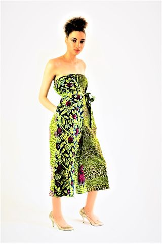 Green,wide,leg,crop,Jumpsuit, Green, Romper, Play suit, Bandeau, green jumpsuit, african fashion, african jumpsuit