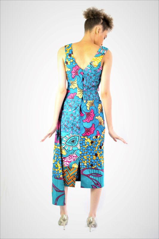 Sasha Blue Fitted Ankara Dress - product images  of