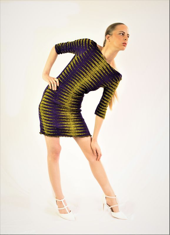 Purple Yellow Stretch Fit Ankara Dress - product images  of
