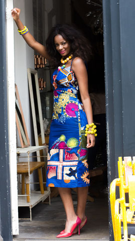 Cameron,Blue,Fitted,African,Dress,Pencil dress,midi dress, African Fashion, Fitted dress, blue African dress, blue Ankara dress, Pencil African dress, Fitted African dress, Pink dress, Green Dress, African, Ankara, Print