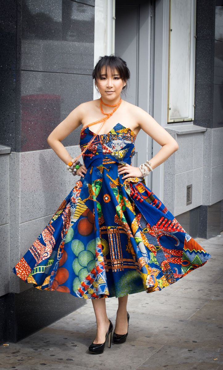 Christina Blue African Ankara Dress - product image