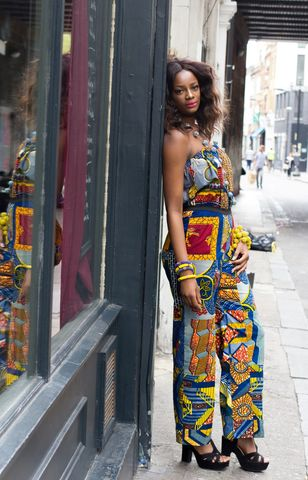 Diaz,Blue,flared,African,Jumpsuit,African Jumpsuit, blue, romper, Flared jumpsuit, African Fashion Jumpsuit, African fashion, jumpsuits, orange jumper, Ankara Jumpsuit, Women Ankara jumpsuit
