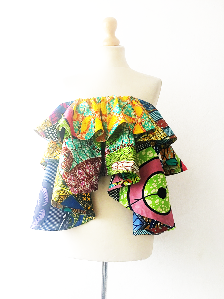 Gold mix African Ankara off shoulder top - product images  of