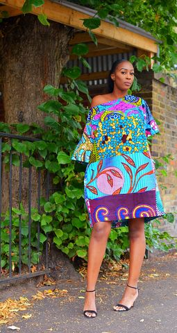 Carla,Turquoise,mix,African,Ankara,Tunic,Dress,sosome, Jumpsuit, Green, Romper, Play suit, Bandeau, London, UK , Shop , Black owned , black owned , black owned fashion , black owned clothes , african shop , ankara shop , women ankara shop , women african clothes shop , sosome , African Dresses