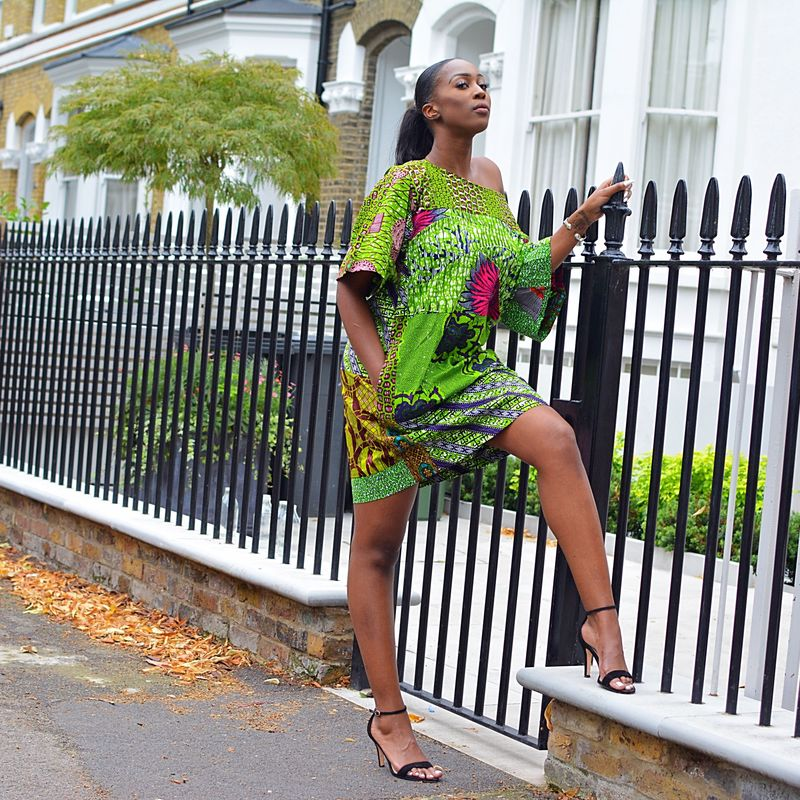 Carla Green mix African Ankara Tunic Dress - product images  of