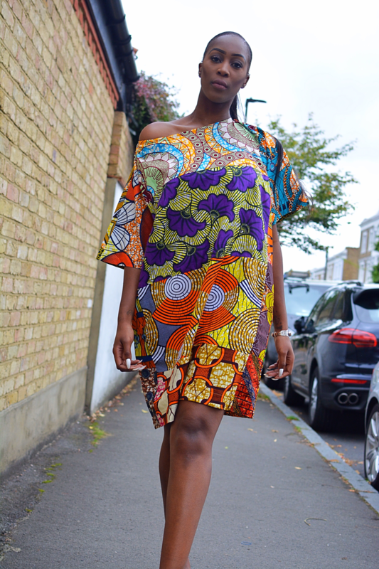 Carla Orange mix African Ankara Tunic Dress - product images  of